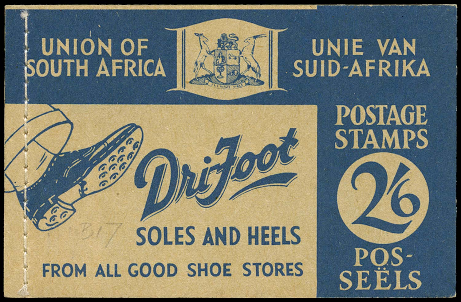 SOUTH AFRICA 1941  SGSB17 Booklet 2s6d blue on buff 'Dri-Foot'