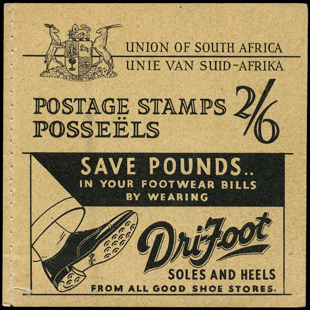 SOUTH AFRICA 1935  SGSB9 var Booklet 2s6d black on lemon 'Dri-Foot' advertiser's sample copy