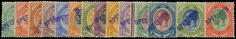 SOUTH AFRICA 1913  SG3/17 vars Specimen King's Head set of 14 to £1 with violet SPECIMEN handstamp