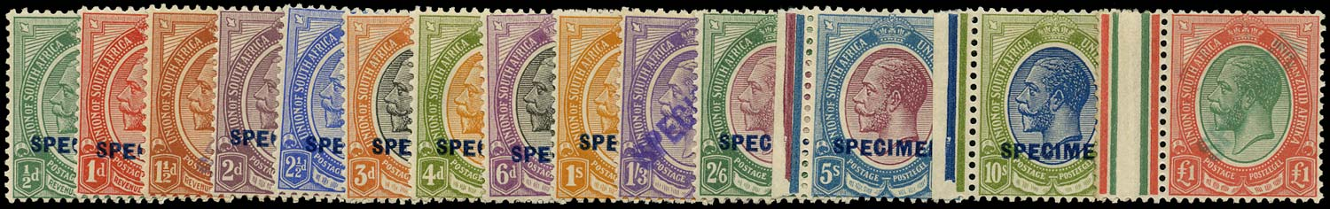 SOUTH AFRICA 1913  SG3s/17s Specimen King's Head set of 14 to £1