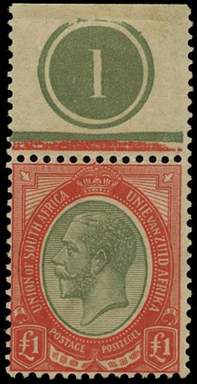 SOUTH AFRICA 1913  SG17a Mint £1 pale olive-green and red with plate number