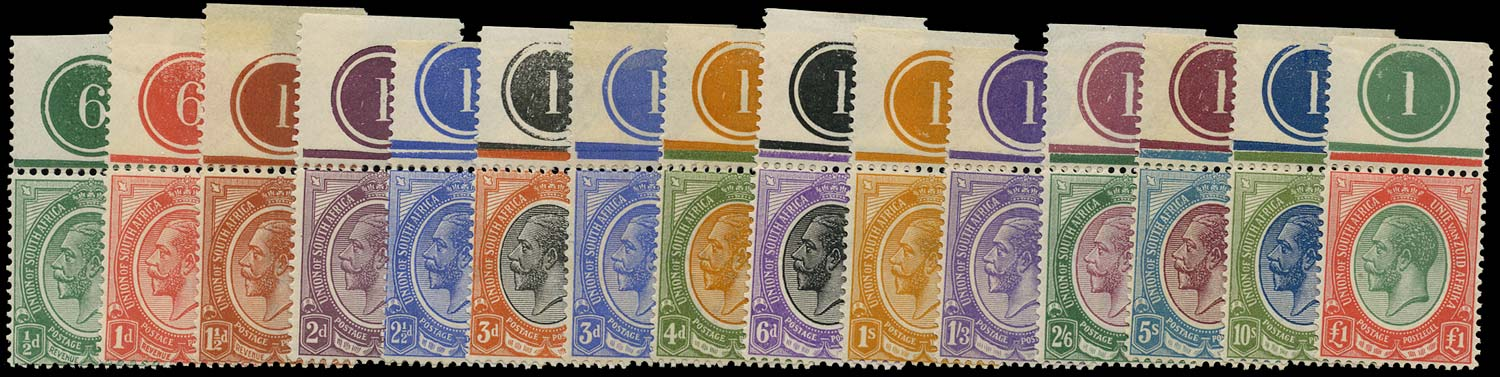 SOUTH AFRICA 1913  SG3/17 Mint King's Head set of 15 to £1 with plate numbers