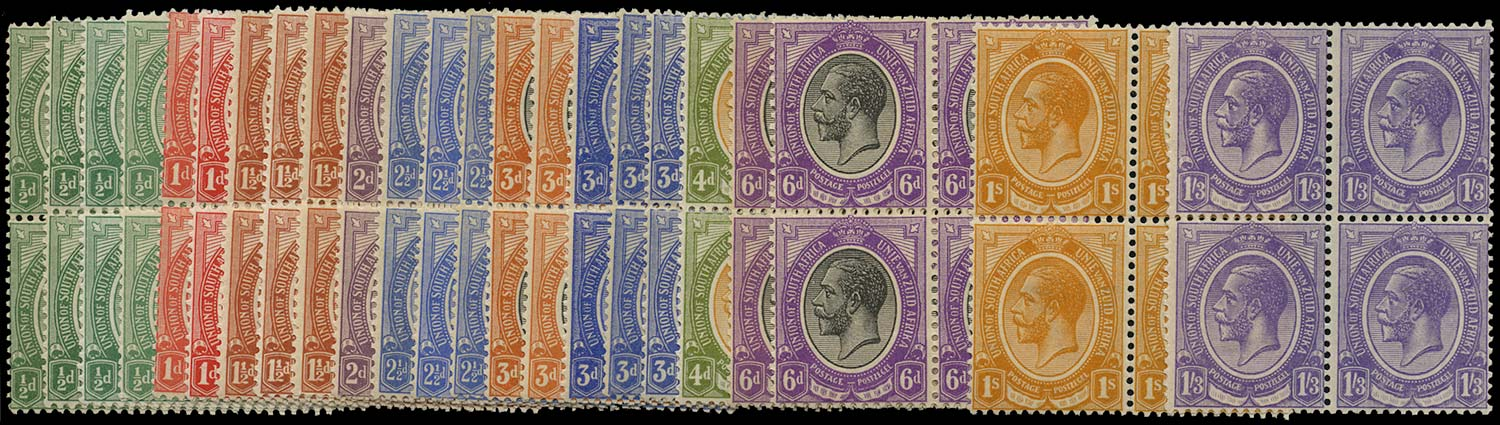 SOUTH AFRICA 1913  SG3/17 Mint King's Head short set to 1s3d blocks of 4