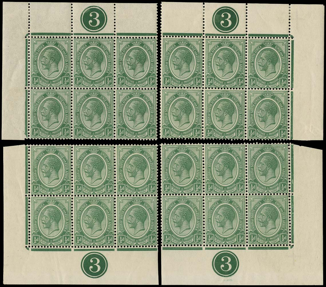 SOUTH AFRICA 1913  SG3 Mint King's Head ½d green plate 3 blocks of 6