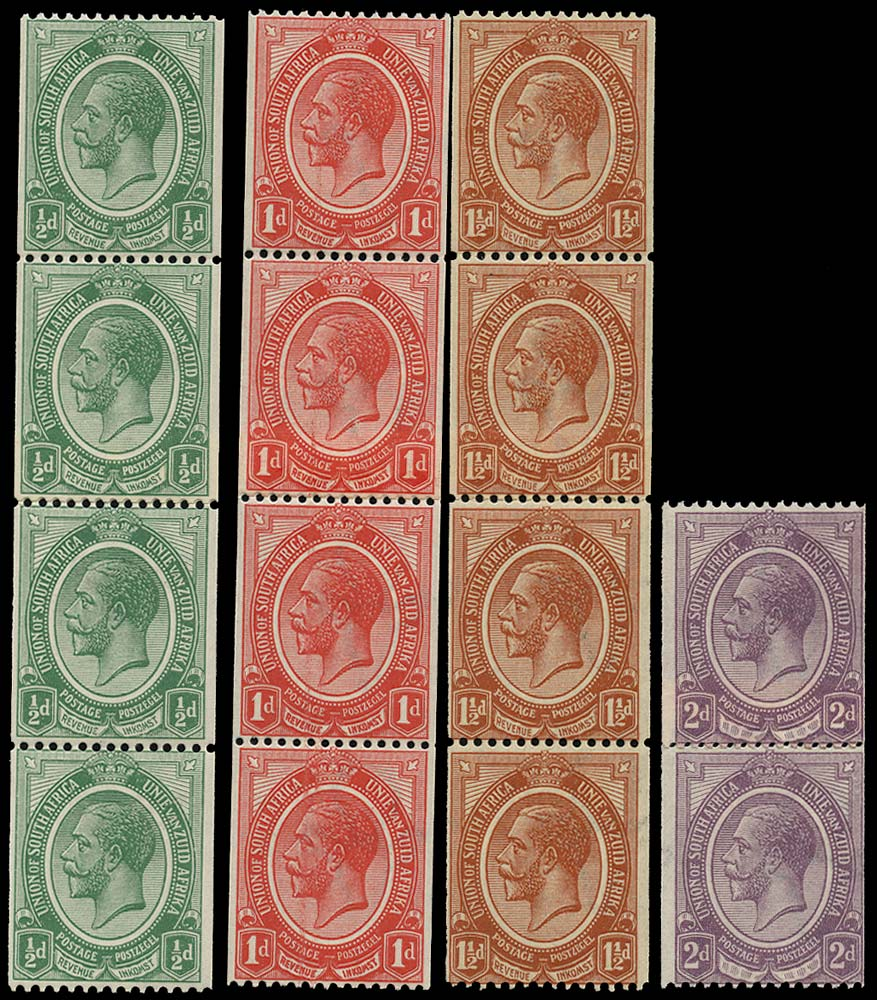 SOUTH AFRICA 1913  SG18/21 vars Mint unmounted King's Head set of 4 coil stamps with coil joins