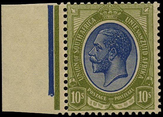 SOUTH AFRICA 1913  SG16 Mint King's Head 10s deep blue and olive-green