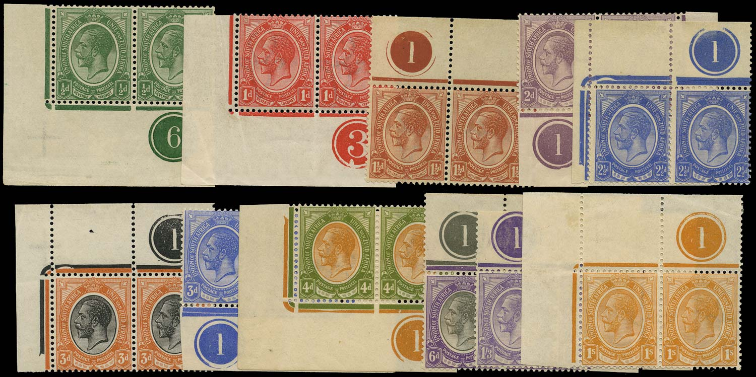 SOUTH AFRICA 1913  SG3/13 Mint King's Head short set to 1s3d plate number pairs