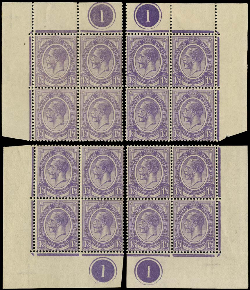 SOUTH AFRICA 1913  SG13 Mint King's Head 1s3d violet plate 1 blocks of 4