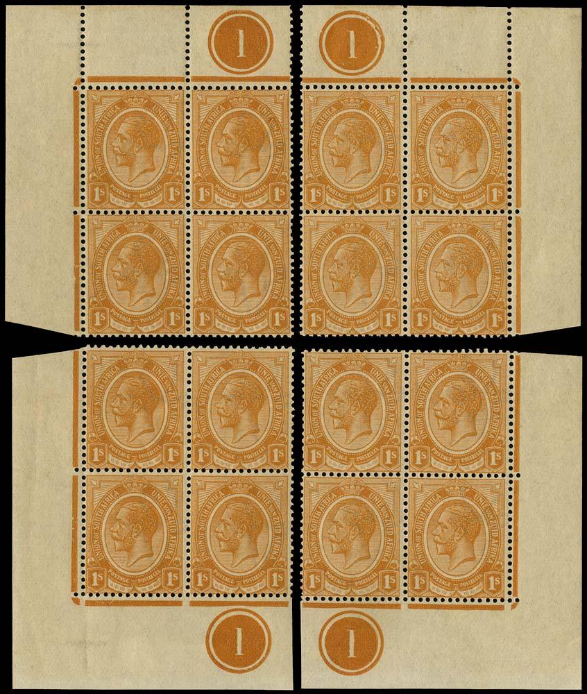 SOUTH AFRICA 1913  SG12 Mint King's Head 1s orange plate 1 blocks of 4