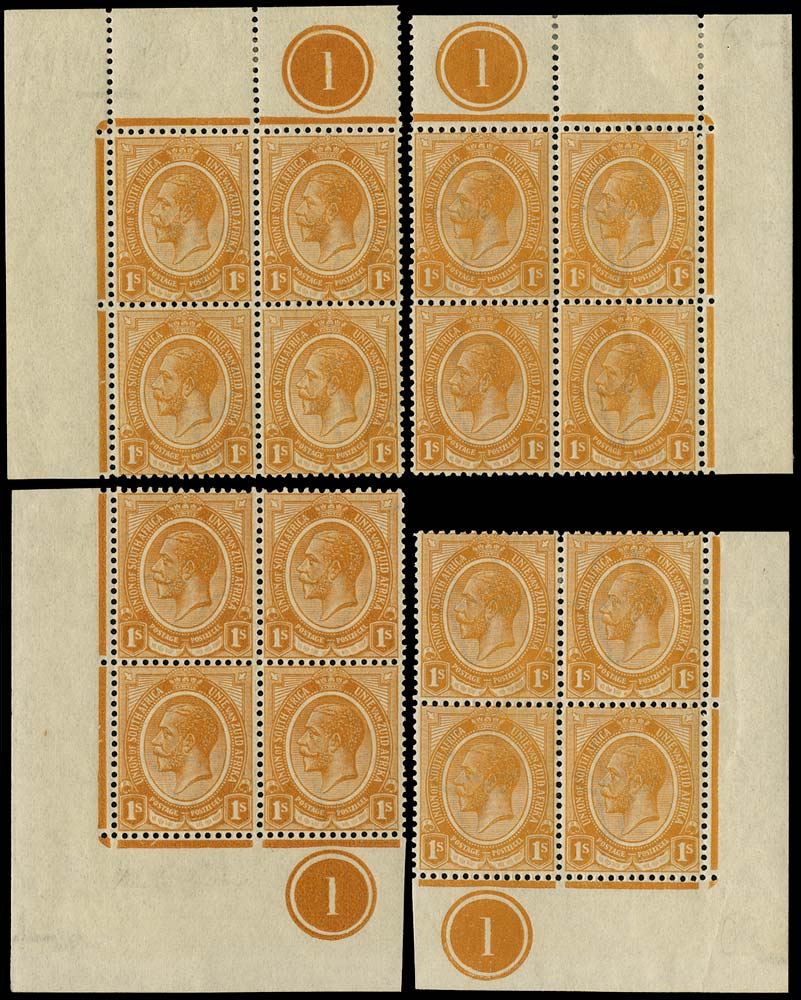 SOUTH AFRICA 1913  SG12 Mint King's Head 1s orange plate 1 blocks of 4