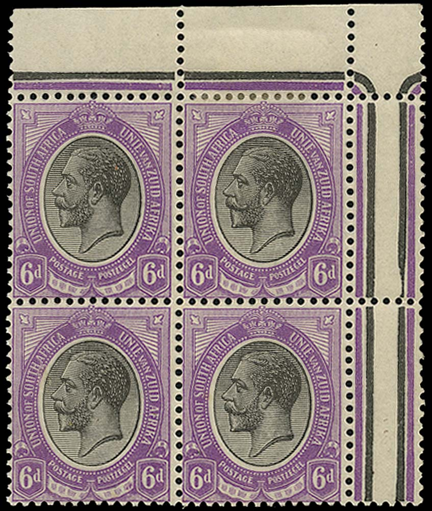 SOUTH AFRICA 1913  SG11aw Mint King's Head 6d black and violet watermark inverted