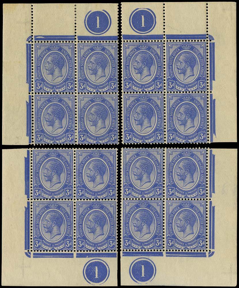 SOUTH AFRICA 1913  SG9 Mint King's Head 3d ultramarine plate 1 blocks of 4