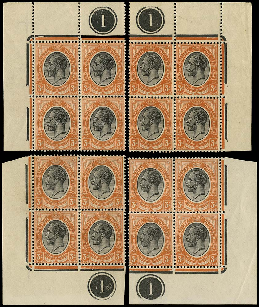SOUTH AFRICA 1913  SG8a Mint King's Head 3d black and dull orange-red plate 1 blocks of 4