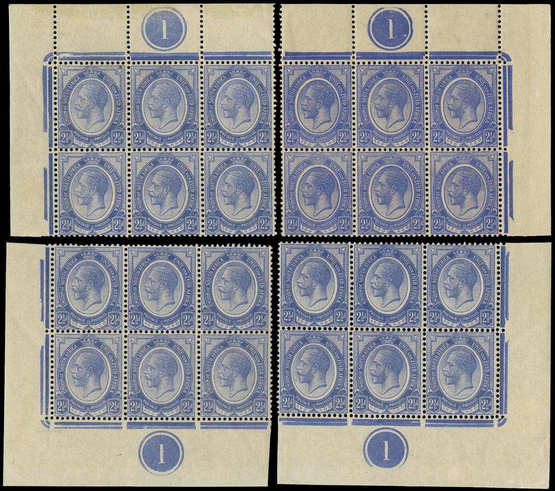 SOUTH AFRICA 1913  SG7a Mint King's Head 2½d deep blue plate 1 blocks of 6