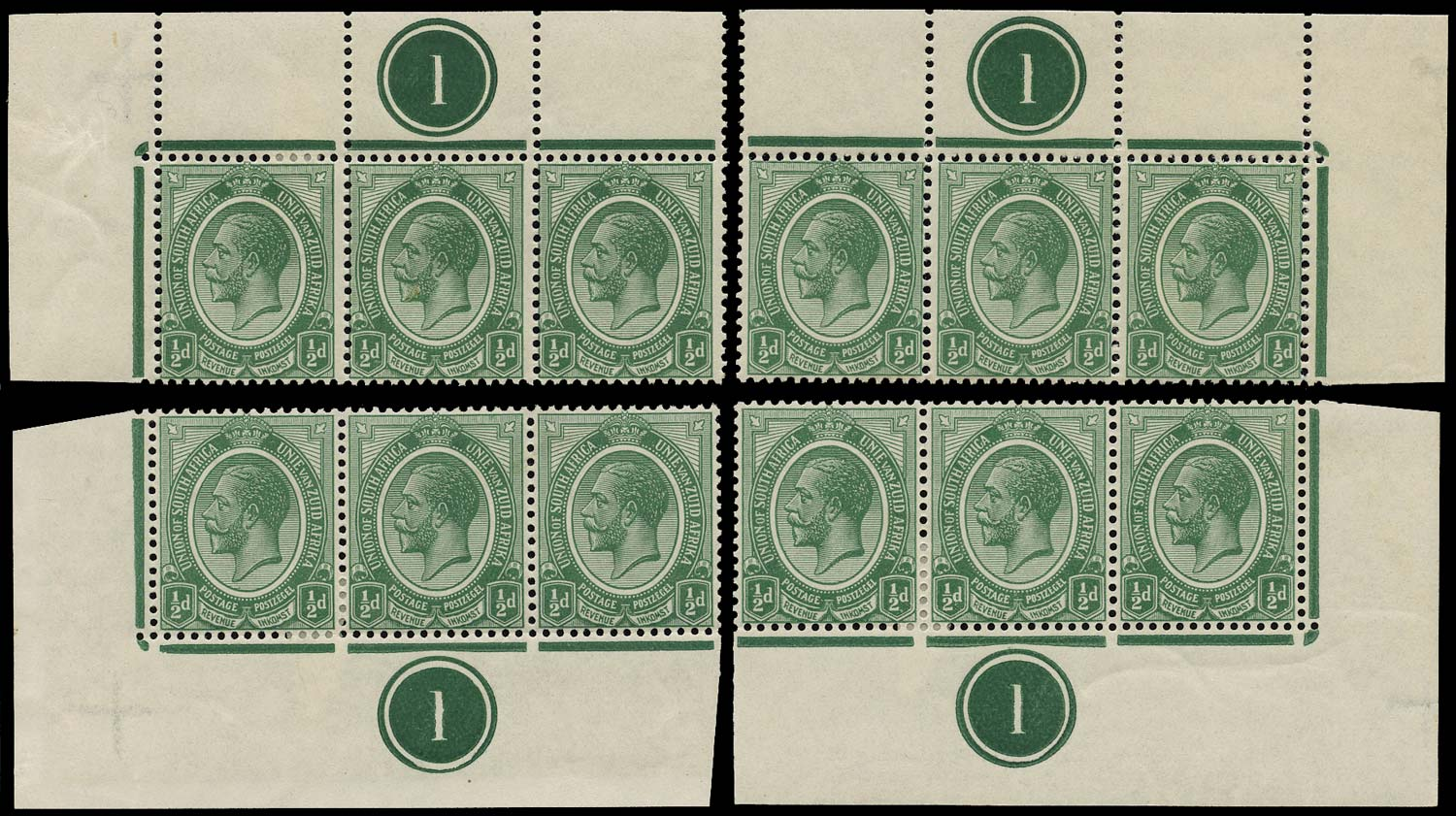 SOUTH AFRICA 1913  SG3 Mint King's Head ½d green plate 1 strips of 3