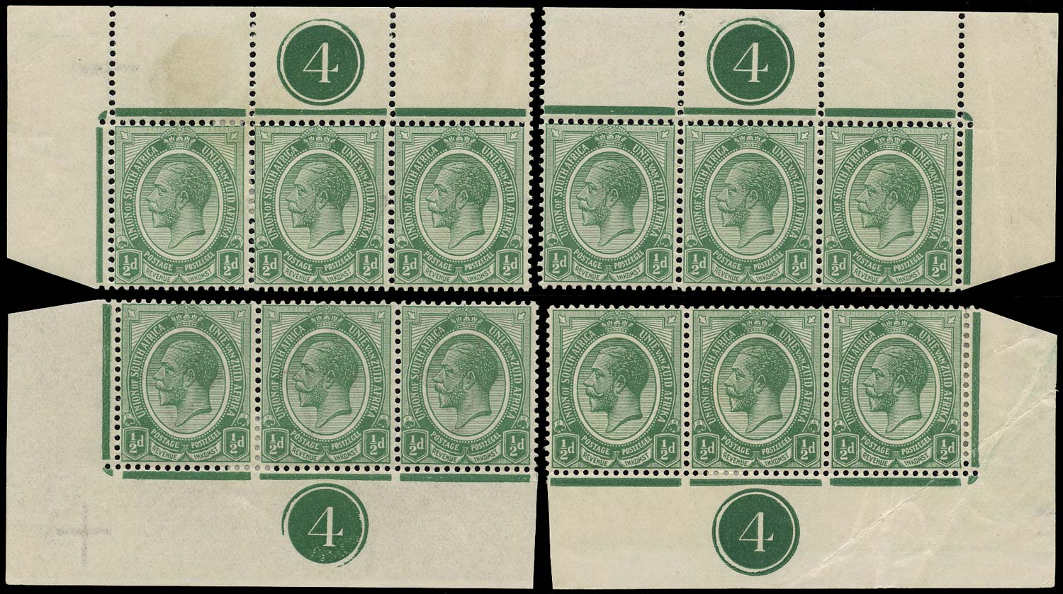 SOUTH AFRICA 1913  SG3 Mint King's Head ½d green plate 4 strips of 3