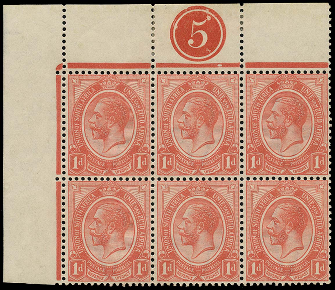 SOUTH AFRICA 1913  SG4 Mint King's Head 1d rose-red plate 5 block of 6