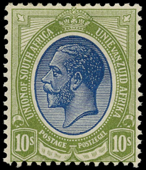 SOUTH AFRICA 1913  SG16 Mint unmounted King's Head 10s deep blue and olive-green
