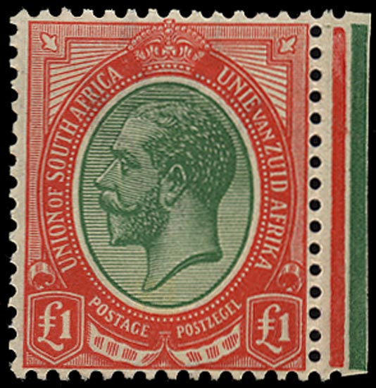 SOUTH AFRICA 1913  SG17 Mint unmounted King's Head £1 green and red
