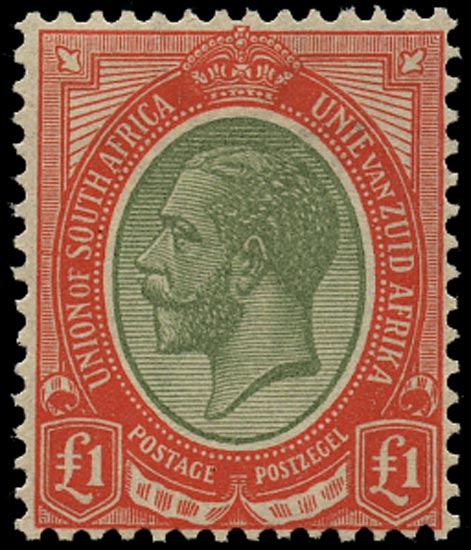 SOUTH AFRICA 1913  SG17a Mint King's Head £1 pale olive-green and red