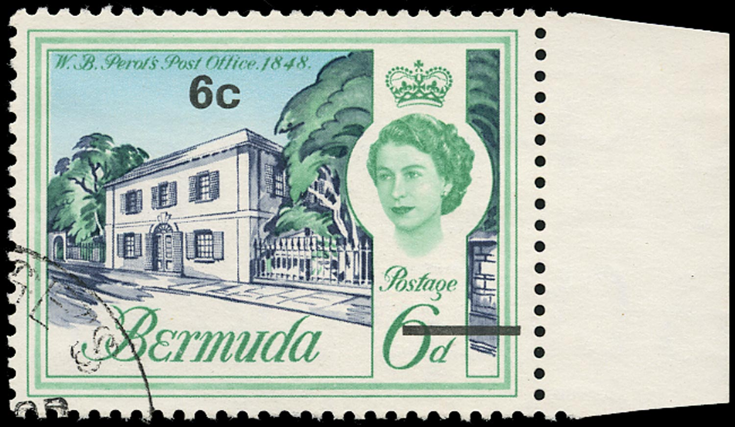 BERMUDA 1970  SG237w Used decimal currency 6c on 6d Perot's Post Office watermark inverted