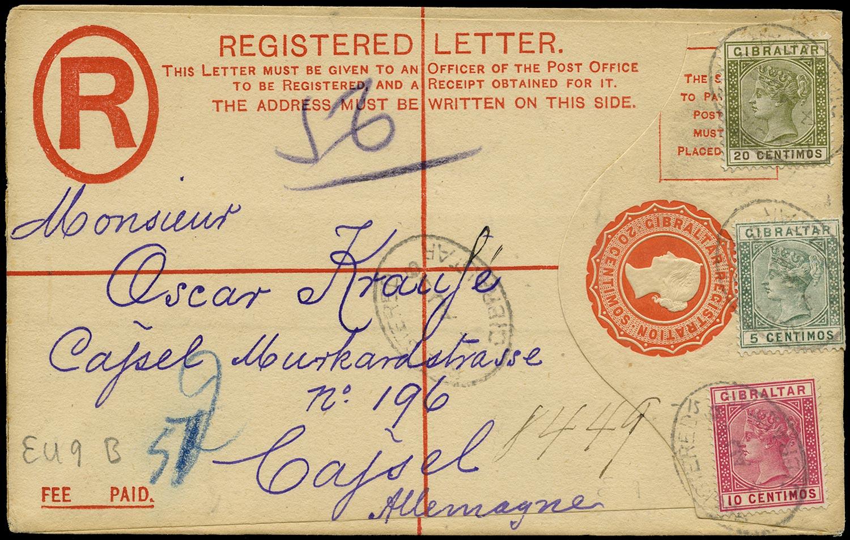 GIBRALTAR 1896  SG22, 23, 24 Cover 20c QV registered envelope to Germany
