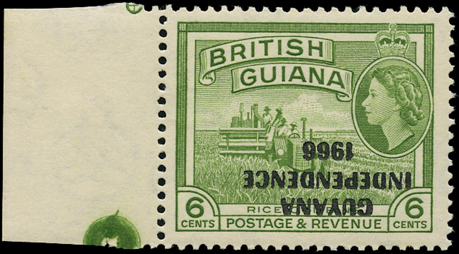 GUYANA 1967  SG424b Mint unmounted Independence 6c error Overprint Inverted