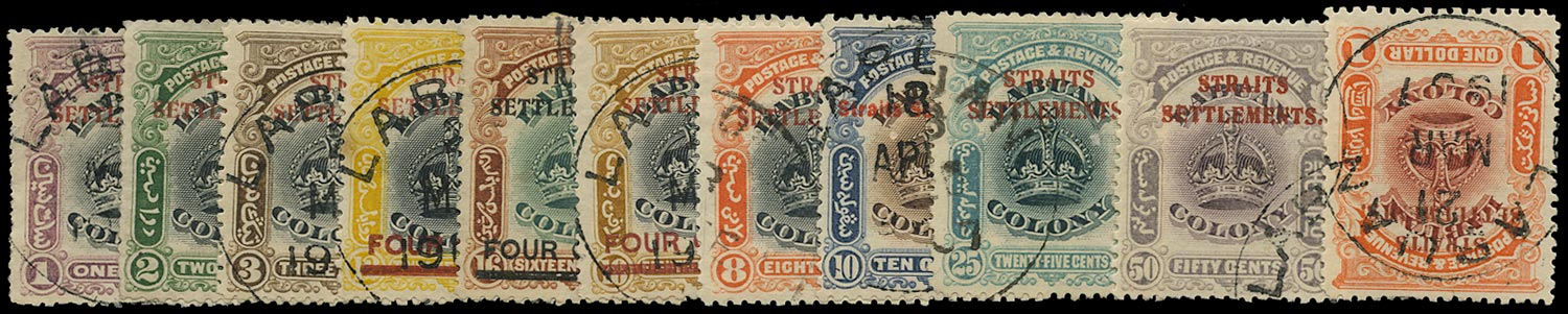 MALAYA - STRAITS 1906  SG141/51 Used On Labuan overprinted set of 11 to $1