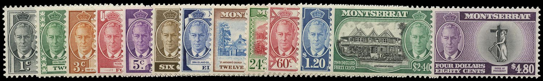 MONTSERRAT 1951  SG123/35 Mint unmounted KGVI set of 13 to $4.80