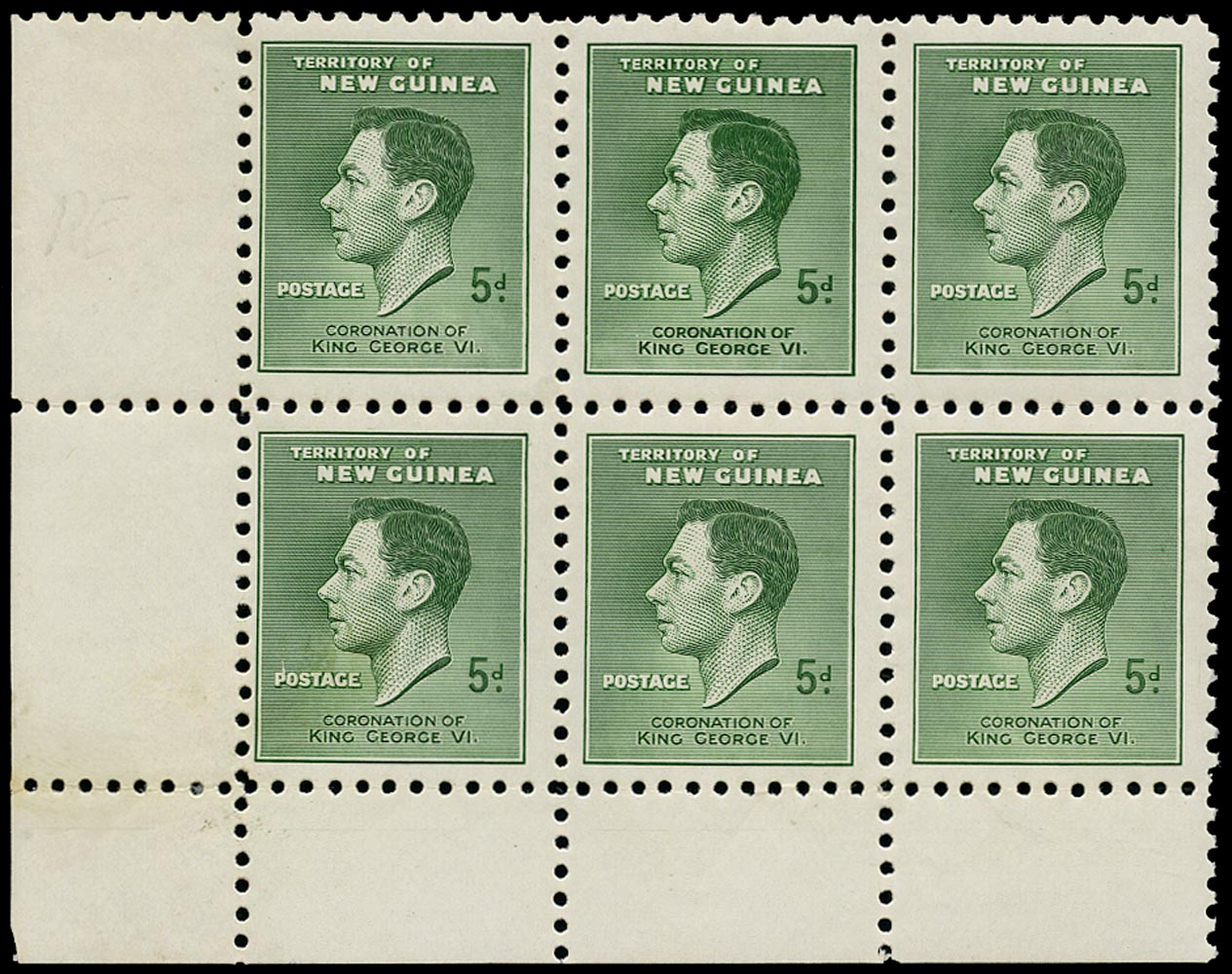NEW GUINEA 1937  SG210a Mint unmounted Coronation 5d green with R5/2 re-entry