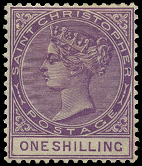 ST CHRISTOPHER 1882  SG21 Mint QV 1s bright mauve watermark CA