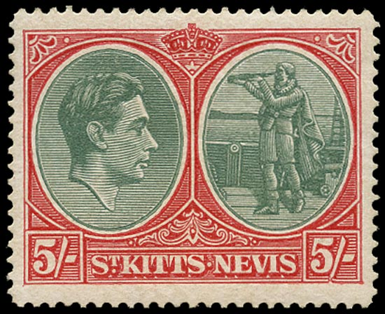 ST KITTS NEVIS 1938  SG77ba Mint unmounted KGVI 5s ordinary paper variety Break in value tablet