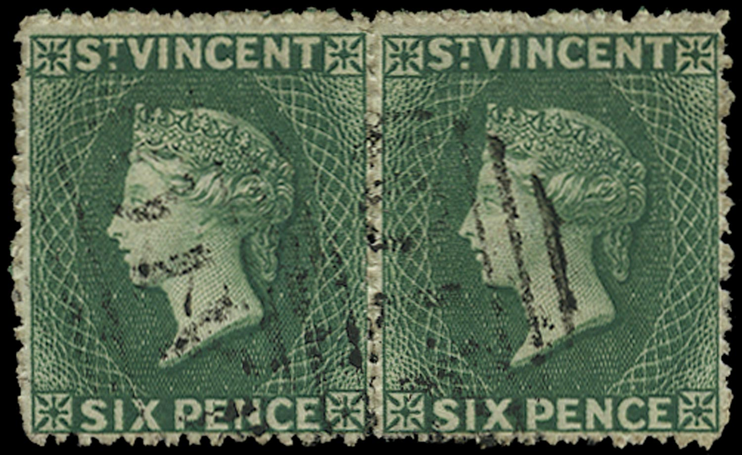 ST VINCENT 1871  SG16 Used 6d deep green watermark small star upright