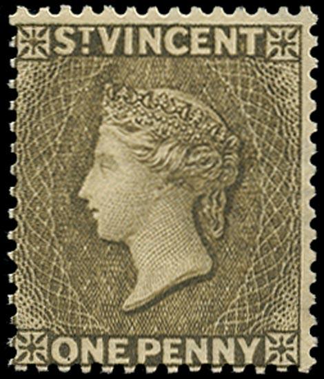 ST VINCENT 1882  SG39x Mint 1d drab watermark CA reversed