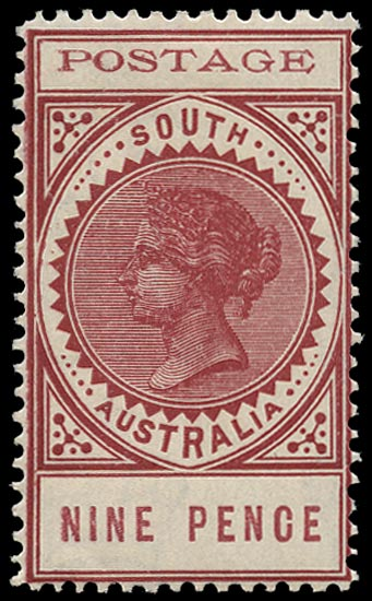 SOUTH AUSTRALIA 1902  SG283 Mint thin POSTAGE 9d rosy mauve perf 12
