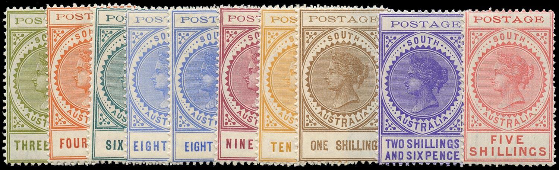 SOUTH AUSTRALIA 1902  SG268/77 Mint thin POSTAGE short set to 5s