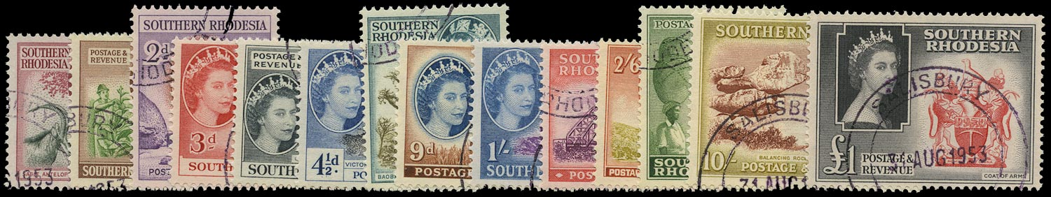 SOUTHERN RHODESIA 1953  SG78/91 Used QEII pictorial set of 14 to £1