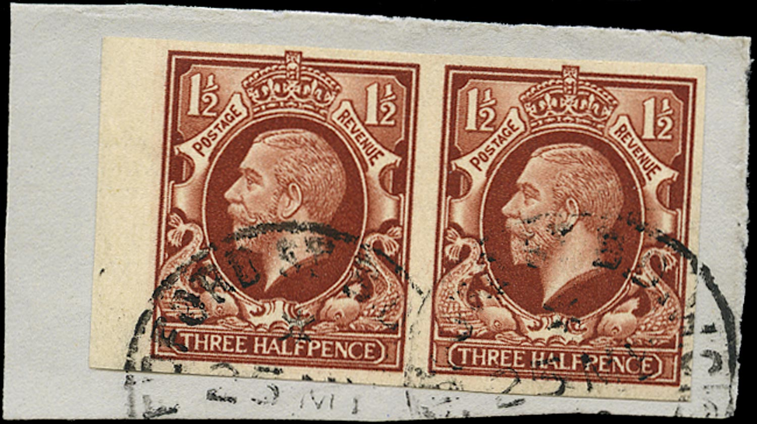 GB 1934  SG441a Used Imperforate pair on piece