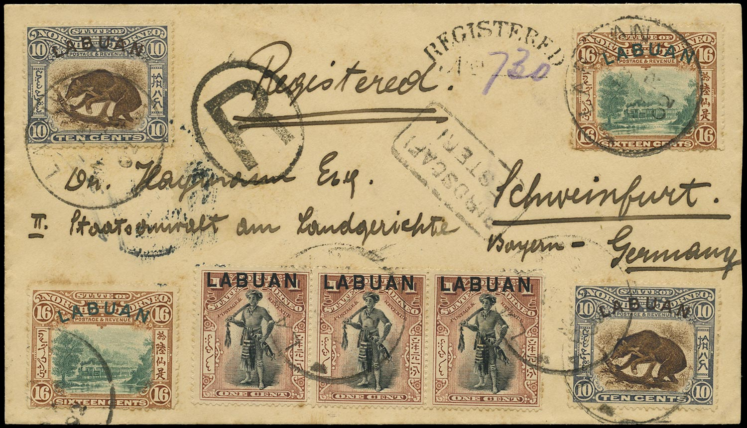 LABUAN 1899  SG89b, 115, 116 Cover registered to Germany including 1900-02 10c Sun Bear and 16c Train
