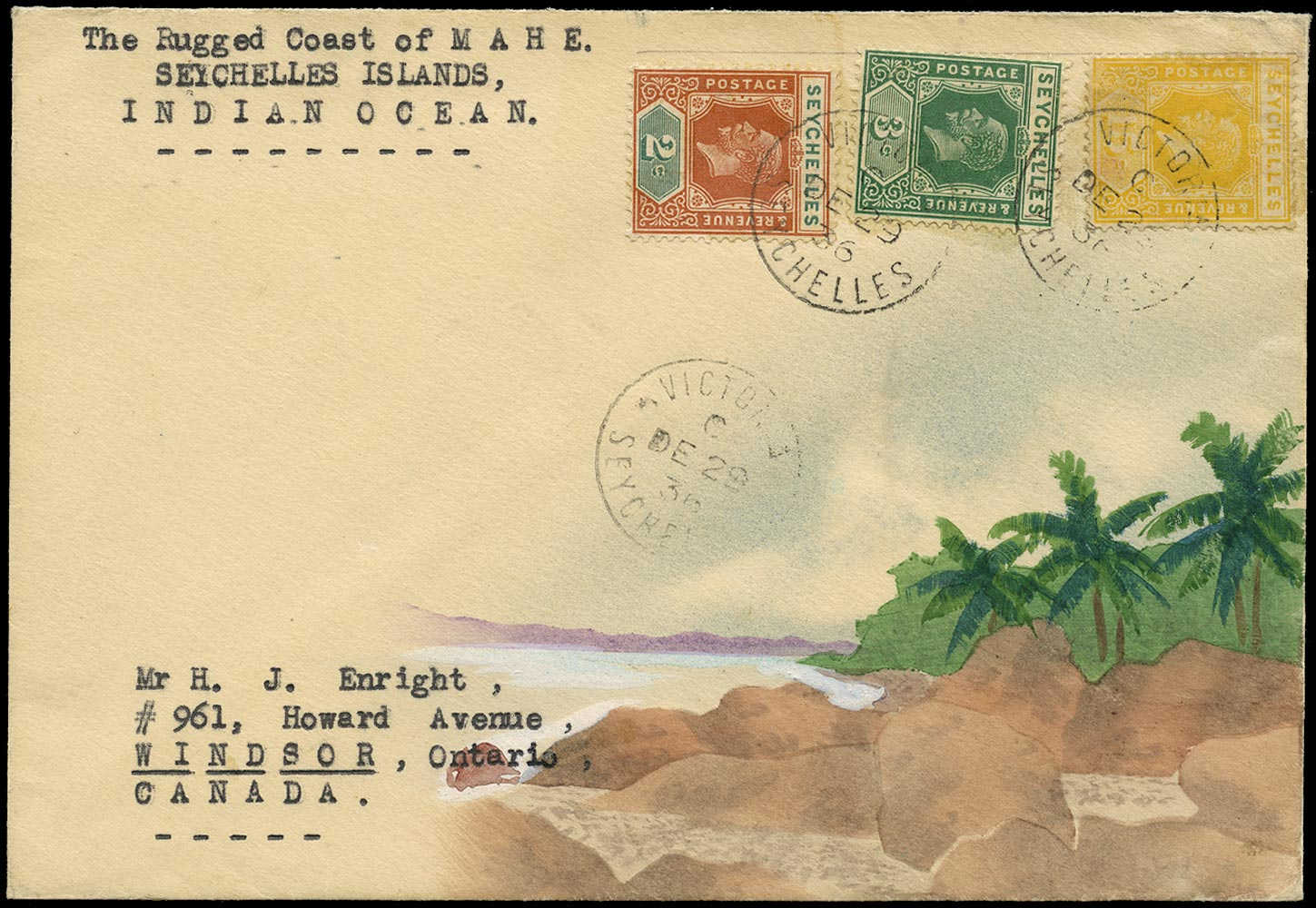 SEYCHELLES 1936  SG98,99, 111 Cover Karl Lewis Hand painted