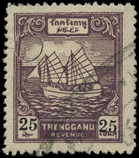 MALAYA THAI OCC 1944 Revenue Ships 25c USED