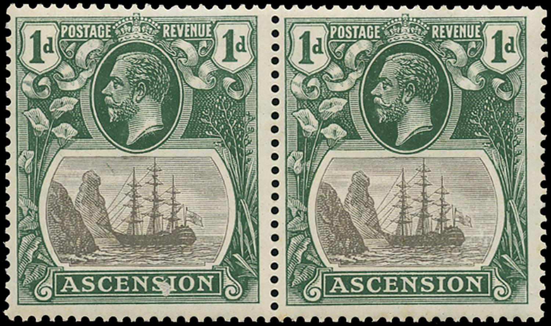 ASCENSION 1924  SG11b Mint 1d grey-black and deep blue-green variety Torn Flag