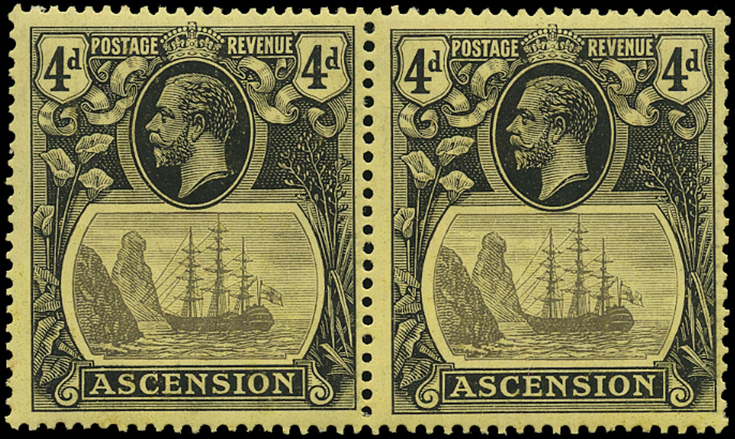 ASCENSION 1924  SG15b Mint unmounted 4d grey-black and black on yellow variety Torn Flag