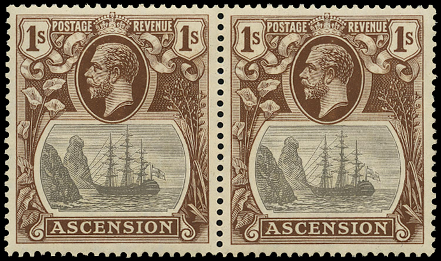 ASCENSION 1924  SG18b Mint 1s grey-black and brown variety Torn Flag
