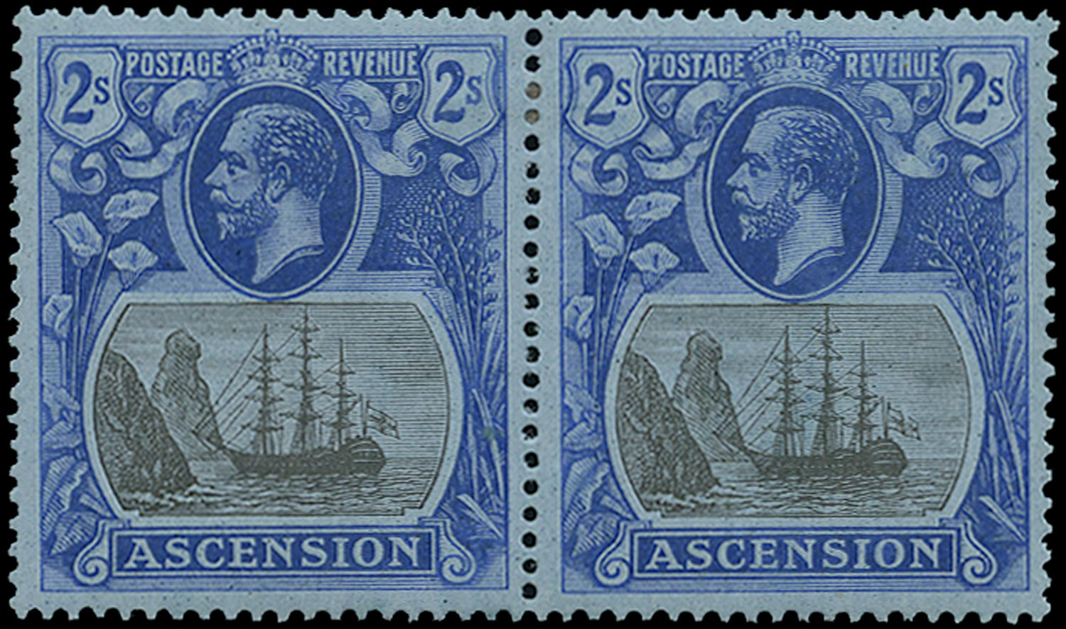 ASCENSION 1924  SG19b Mint 2s grey-black and blue on blue variety Torn Flag
