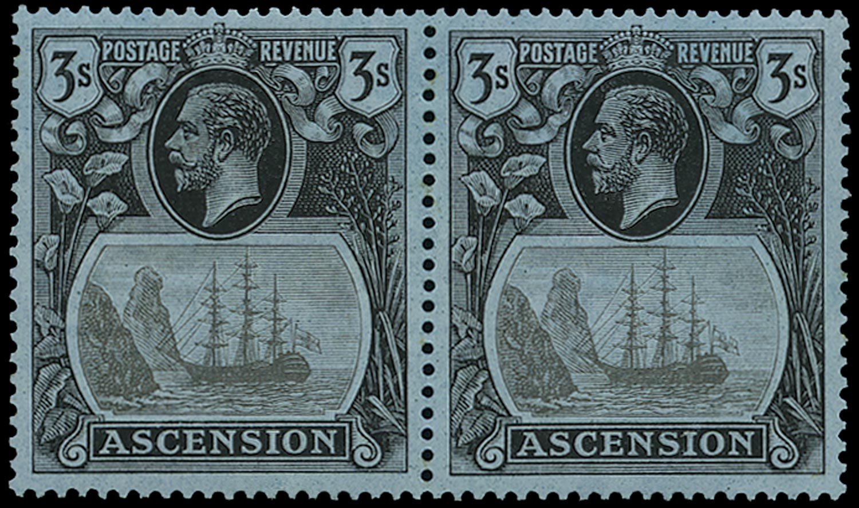 ASCENSION 1924  SG20b Mint 3s grey-black and black on blue variety Torn Flag