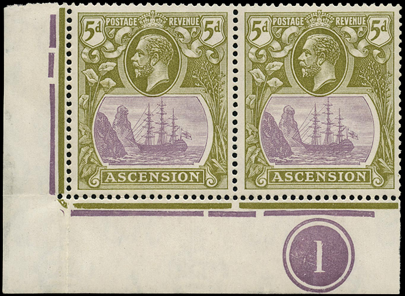 ASCENSION 1924  SG15da Mint 5d purple and olive-green variety Cleft Rock