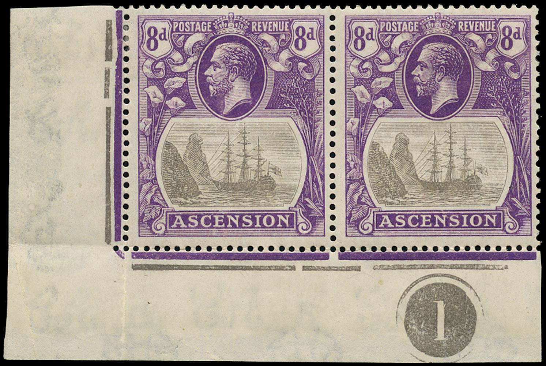ASCENSION 1924  SG17c Mint 8d grey-black and bright violet variety Cleft Rock