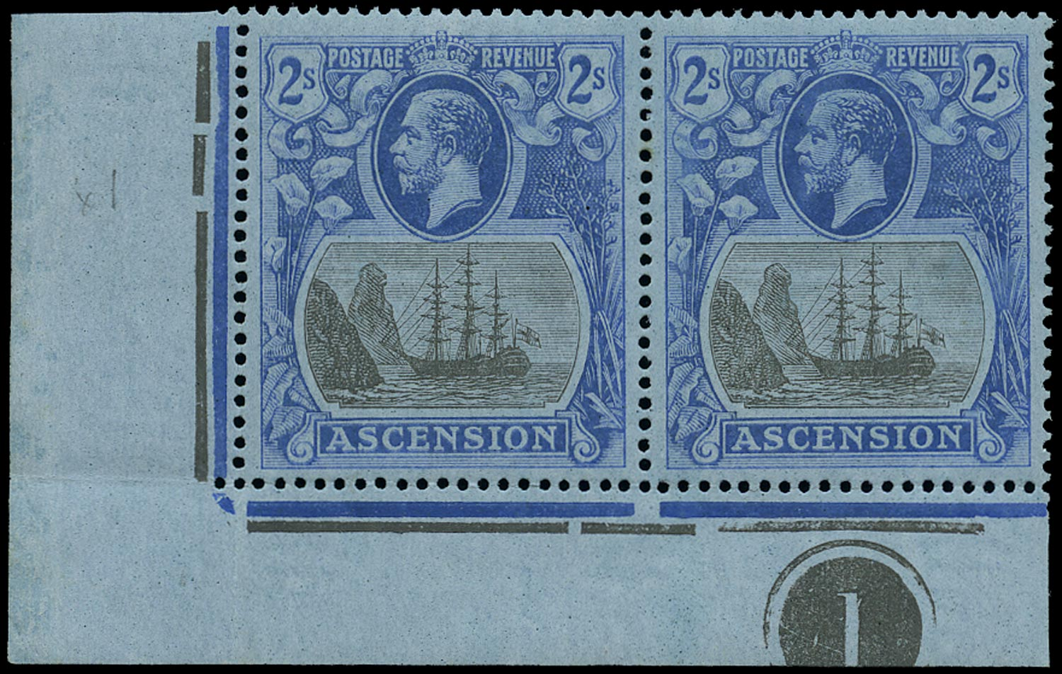 ASCENSION 1924  SG19c Mint 2s grey-black and blue on blue variety Cleft Rock