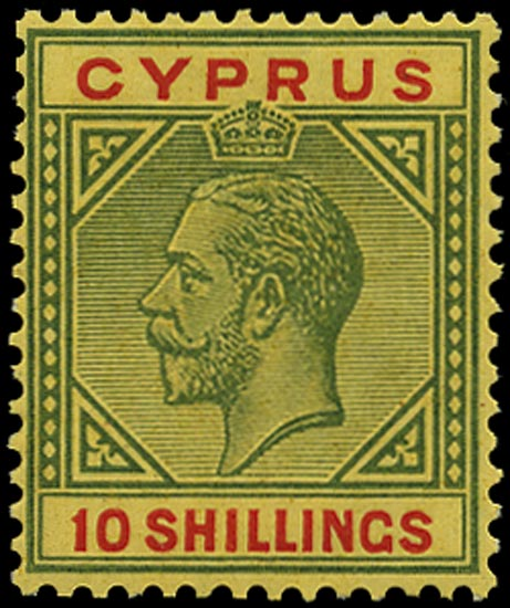 CYPRUS 1921  SG100 Mint 10s green and red on pale yellow